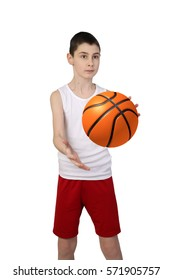 Boy in sleeveless shirt and sport shorts catches basketball ball isolated on white background
