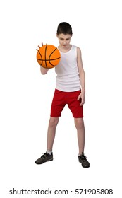 Boy in sleeveless shirt and sport shorts with basketball ball full height isolated on white background