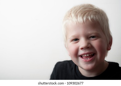 boy smile on white background