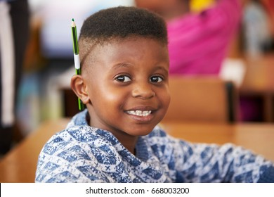 Boy smiling to camera in an elementary school lesson