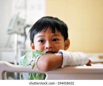 Boy smiling in hospital