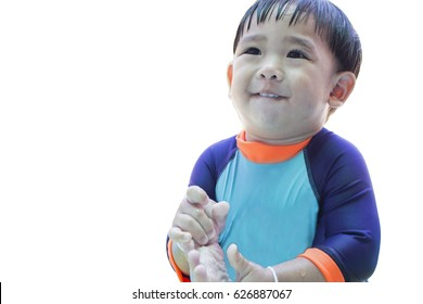 boy smiling isolated  background.