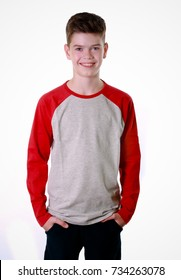 Boy is smiling over white background
