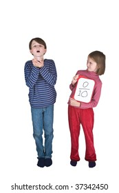 A boy sneezes into his hands, and a girl makes a thumbs down sign because this is one of the ways that swine flu is spread. She is holding a tablet on which is written a score of 0 out of 10.