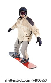 Boy snowboarding isolated on a over white background