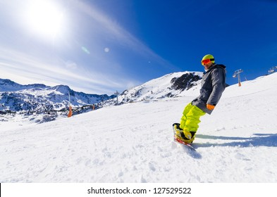 boy in the Soldeu sector in the Grandvalira ski station in the P