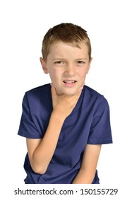 Boy with sore throat sick isolated