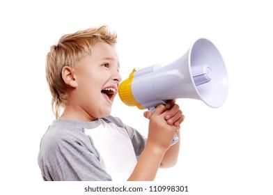 Boy  speaking through a megaphone against a white background