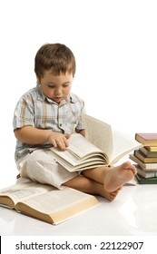 boy with stack of books