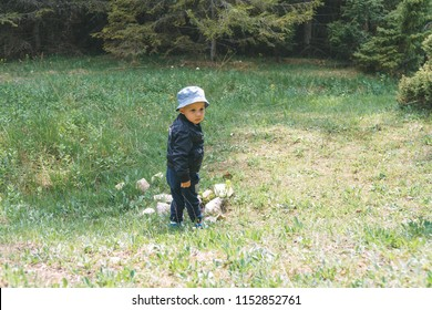 boy standing by stones on meadow at forest