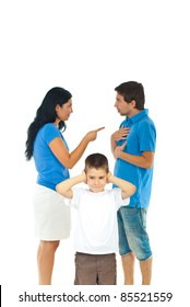 Boy standing with hands on ears and don't wanna hear his parents conflict isolated on white background