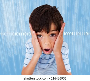 Boy standing looking scared on background with binary code