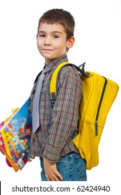 Boy  standing in profile holding bag and books and going to school in first day  isolated on white background