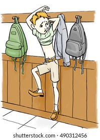 Boy struggles to get loose from his position hanging from a coat peg.