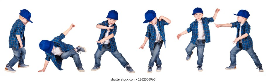 The boy in the style of Hip-Hop . Children's fashion.