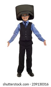 boy in suit with briefcase on his head isolated
