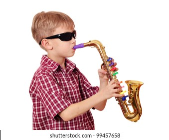 boy with sunglasses play saxophone