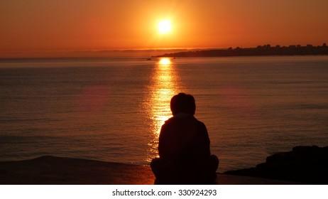 Boy and Sunset