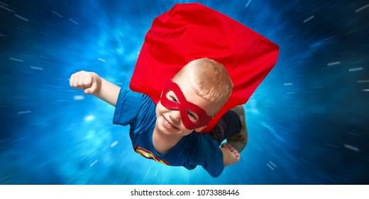 Boy in superhero costume guard the planet and show super abilities.