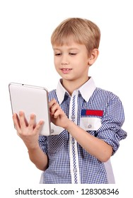 boy with tablet pc on white