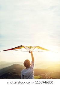 Boy takes a kite over his head