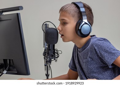 Boy talks looking to computer monitor screen. Kid wearing headphones using microphone. Online learning, remote education, gaming, podcast