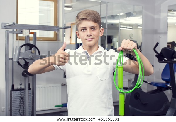 boy teenager goes in for sports