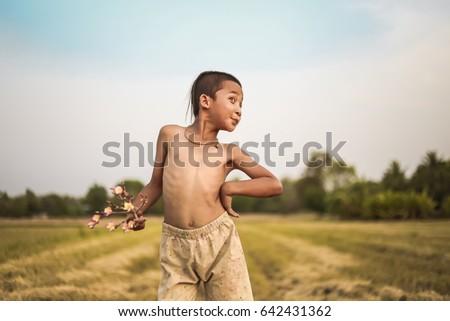Boy Thai Ancient Hairstyle Play Farm Stock Photo Edit Now