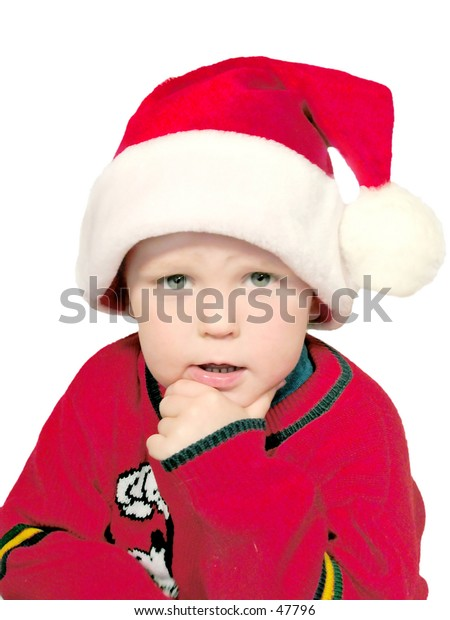 boy thinking about x-mas,isolated