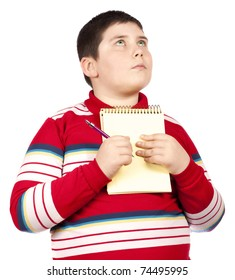 Boy thinking with notepad  isolated over white background