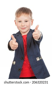 "Boy with thumbs up in ""ok"" gesture, isolated"