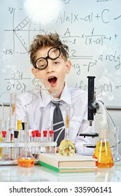 A boy tired of working in the laboratory. Science and education. School.