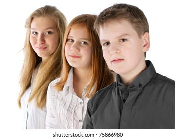 Boy and two girls stay in line and smiling