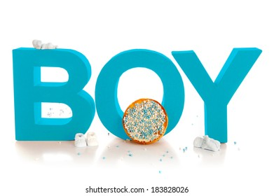 Boy, typical Dutch mouse rusk with blue mice, on a white background