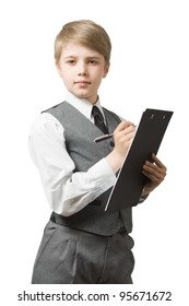 Boy  in uniform  suit with clipboard and pen, looking at camera. Isolated on white.