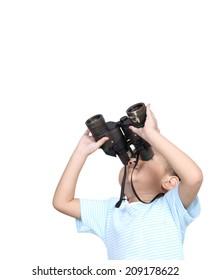 Boy using binoculars looking something, isolated on white background, Learning concept.