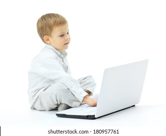 The boy using laptop
