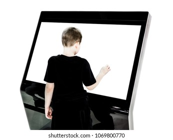 A boy using touch screen mock up of kiosk digital stand, for ads, marketing advertising, design, promotion on isolated white background.