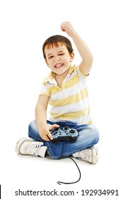 Boy using video game controller.   Isolated on white background