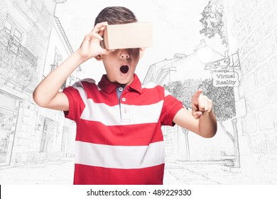 Boy using virtual reality headset. Conceptual cross processed image with shallow depth of field