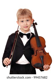 boy with violin posing