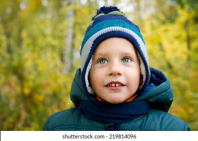 Boy is walking in the autumn park