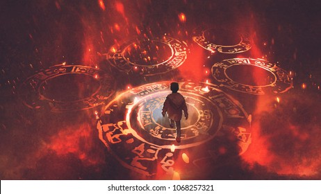 boy walking on magic circles or sacred symbols in the air with, digital art style, illustration painting