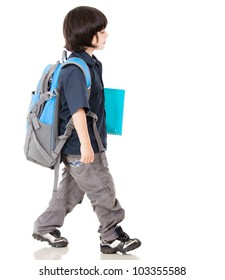 Boy walking to school - isolated over a white background