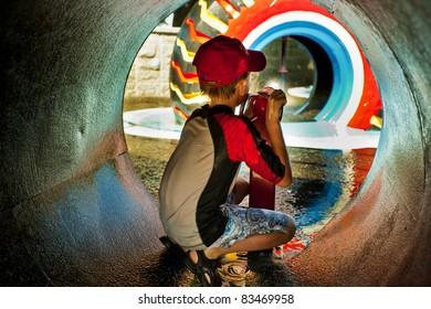 Boy At A Water Park