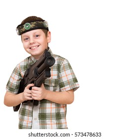 Boy with a weapon for fighting laser tag arena