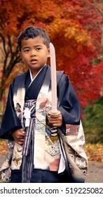 Boy wearing Japanese traditional KIMONO