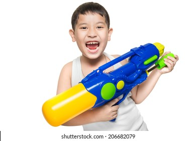 A boy wearing a white vest, His holding a water gun and happy playing (for songkran day). isolate on white background