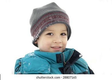 Boy wearing winter clothes outdoors
