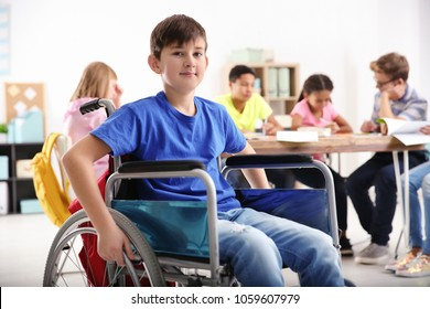 Boy in wheelchair at school